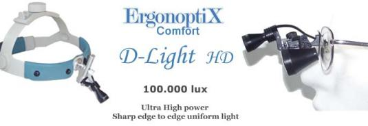 ErgonoptiX D-Light HD - ultra high power mini LED surgical Headlamp with sharp edge light field