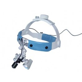 D-Light nano - mini LED medical headlight - on headband with grey loupes - clean