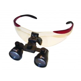 ErgonoptiX - Trendy safety frames for surgical / dental Loupes - Red - with galilean loupes