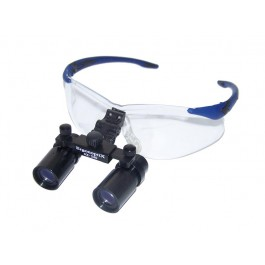 ErgonoptiX Comfort surgical Loupes - Slim Prism - 4X - Blue Flex safety frame