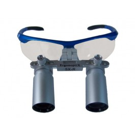 ErgonoptiX Comfort surgical Loupes - Prism - 5X - sporty safety frame, blue