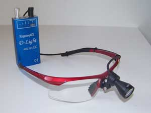 ergonoptix-D-Light-HD-surgical-LED-headlight-on-red-safety-frames-300