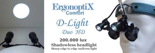 ErgonoptiX - D-Light Duo HD -  Shadowless dual LED surgical Headlamp with sharp edge light