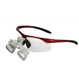 ErgonoptiX - Sporty safety frames for surgical / dental Loupes - Red - with micro galilean loupes