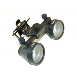 ErgonoptiX - clip-on for surgical / dental Loupes  - with black galilean loupes and D-Light headlamp